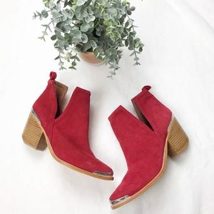 Jeffery Campbell • Cromwell Red Suede Booties 9
